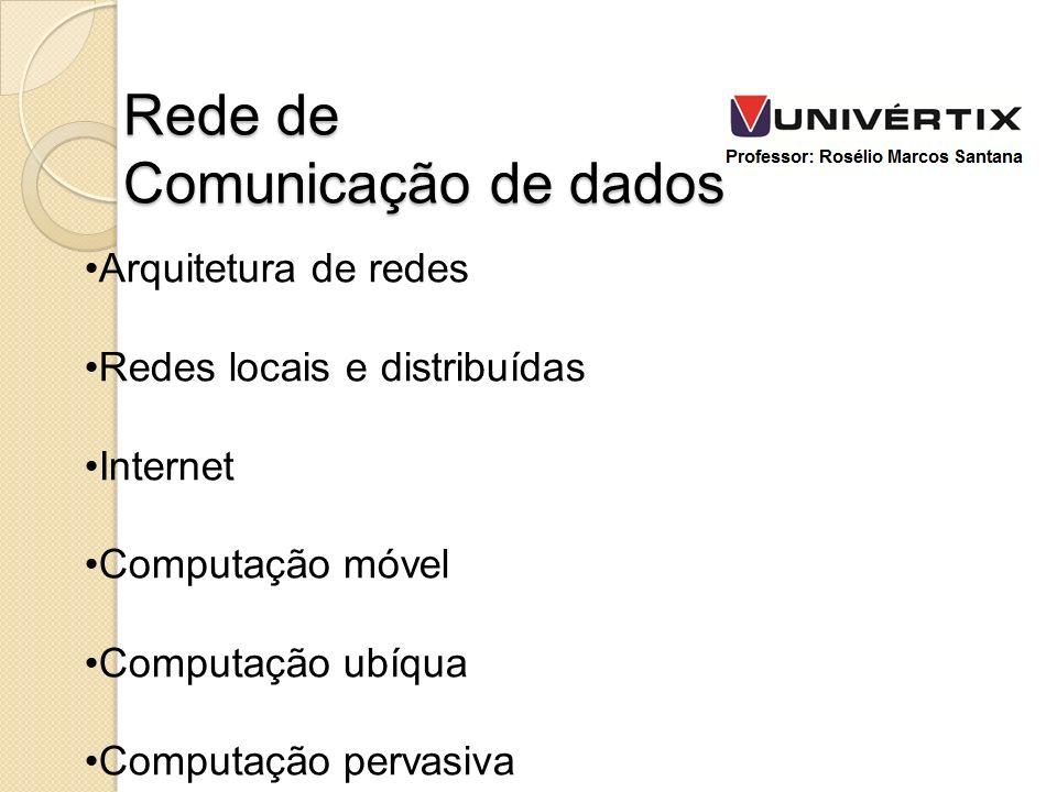 Arquitetura de redes Redes locais e distribuídas Internet Computação móvel Computação ubíqua Computação pervasiva Rede de Comunicação de dados