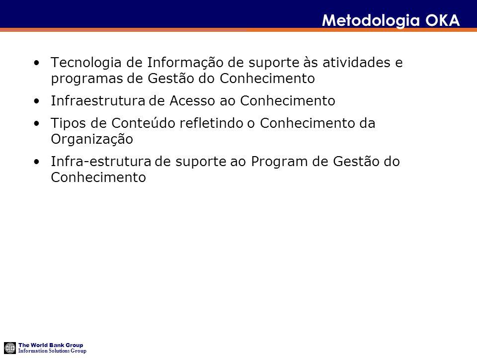 The World Bank Group Information Solutions Group Metodologia OKA Tecnologia de Informação de suporte às atividades e programas de Gestão do Conhecimen
