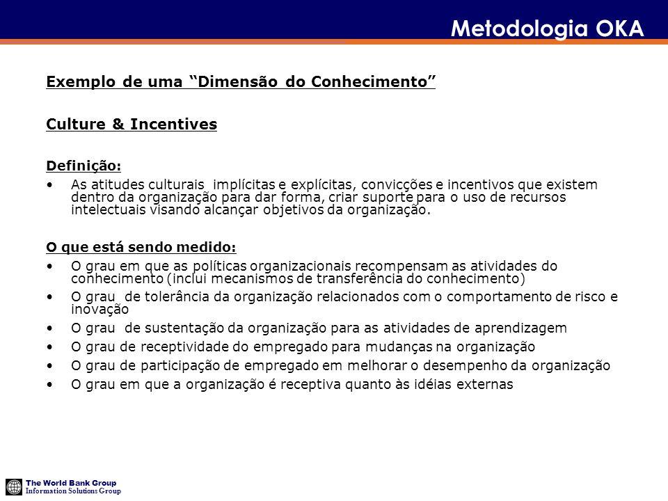 The World Bank Group Information Solutions Group Metodologia OKA Exemplo de uma Dimensão do Conhecimento Culture & Incentives Definição: As atitudes c