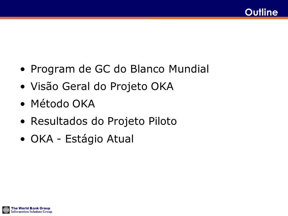 The World Bank Group Information Solutions Group Program de GC do Blanco Mundial Visão Geral do Projeto OKA Método OKA Resultados do Projeto Piloto OK