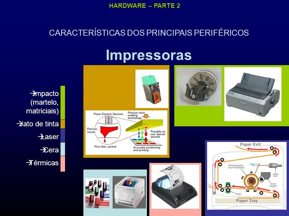 HARDWARE – PARTE 2 CARACTERÍSTICAS DOS PRINCIPAIS PERIFÉRICOS Impressoras Impacto (martelo, matriciais) Jato de tinta Laser Cera Térmicas