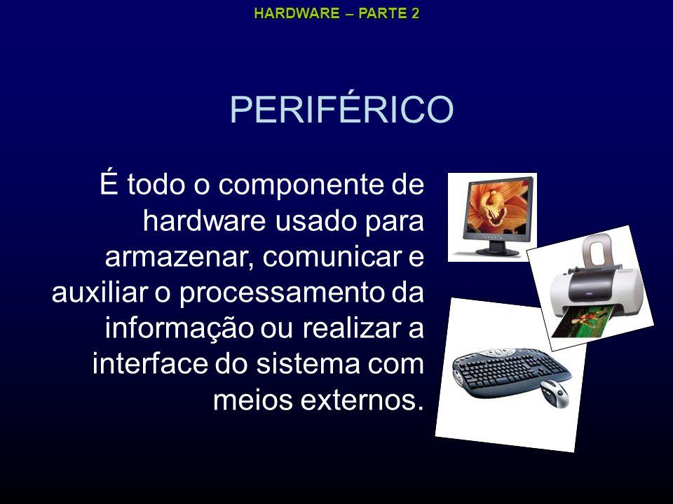 HARDWARE – PARTE 2 PERIFÉRICO É todo o componente de hardware usado para armazenar, comunicar e auxiliar o processamento da informação ou realizar a interface do sistema com meios externos.
