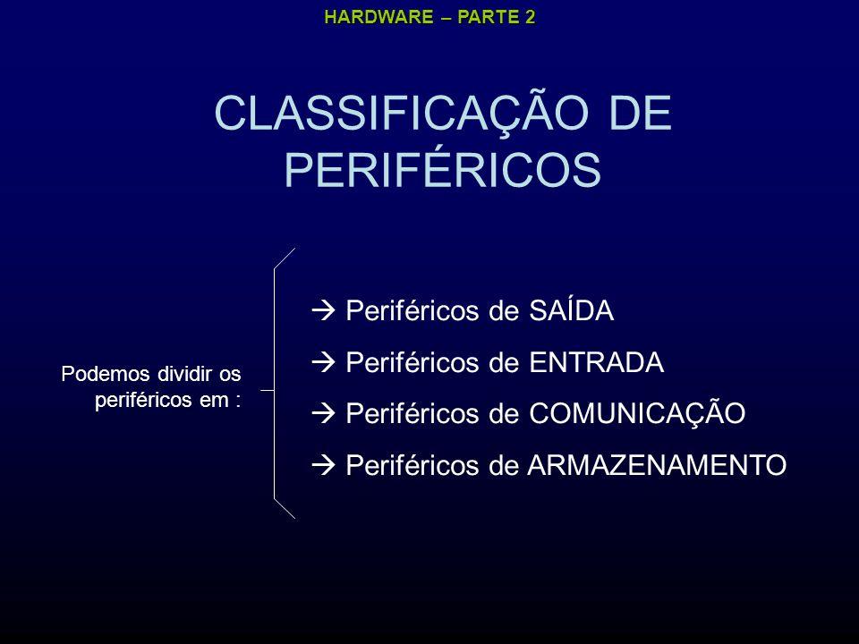 HARDWARE – PARTE 2 CLASSIFICAÇÃO DE PERIFÉRICOS Podemos dividir os periféricos em : Periféricos de SAÍDA Periféricos de ENTRADA Periféricos de COMUNICAÇÃO Periféricos de ARMAZENAMENTO