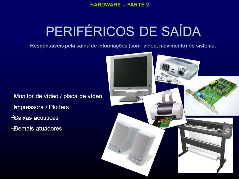 HARDWARE – PARTE 2 PERIFÉRICOS DE SAÍDA Responsáveis pela saída de informações (som, vídeo, movimento) do sistema.