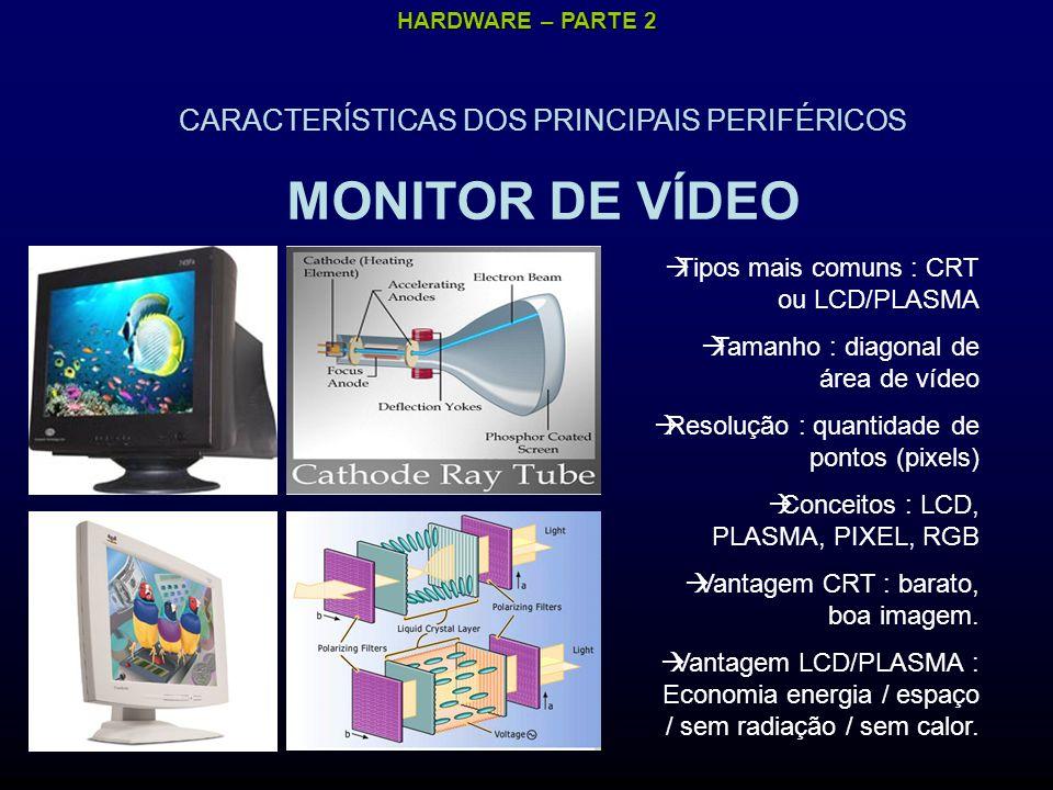 HARDWARE – PARTE 2 CARACTERÍSTICAS DOS PRINCIPAIS PERIFÉRICOS MONITOR DE VÍDEO Tipos mais comuns : CRT ou LCD/PLASMA Tamanho : diagonal de área de vídeo Resolução : quantidade de pontos (pixels) Conceitos : LCD, PLASMA, PIXEL, RGB Vantagem CRT : barato, boa imagem.