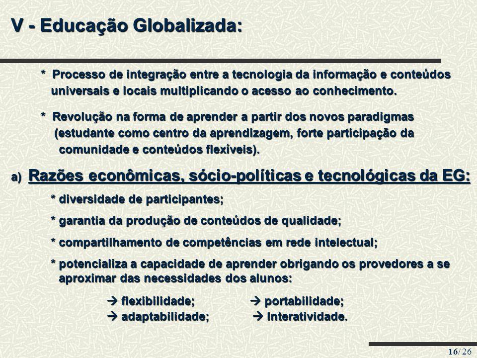 16/ 26 V - Educação Globalizada: * Processo de integração entre a tecnologia da informação e conteúdos * Processo de integração entre a tecnologia da