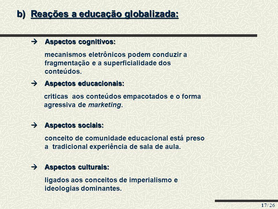 17/ 26 b)Reações a educação globalizada: Aspectos cognitivos: Aspectos cognitivos: Aspectos educacionais: Aspectos educacionais: Aspectos sociais: Asp