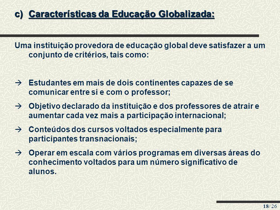 18/ 26 c)Características da Educação Globalizada: Uma instituição provedora de educação global deve satisfazer a um conjunto de critérios, tais como:
