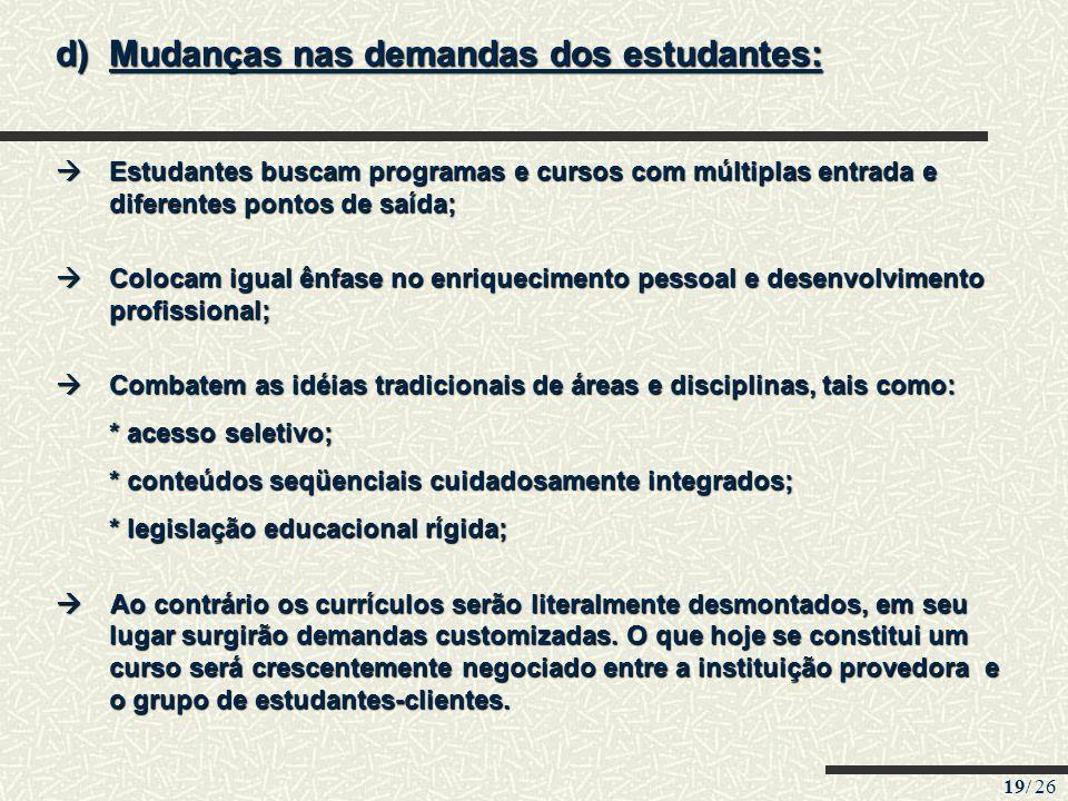 19/ 26 d)Mudanças nas demandas dos estudantes: Estudantes buscam programas e cursos com múltiplas entrada e diferentes pontos de saída; Estudantes bus