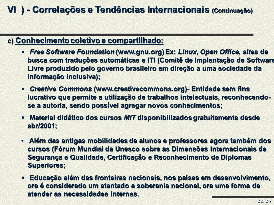 22/ 26 VI ) - Correlações e Tendências Internacionais (Continuação) c) Conhecimento coletivo e compartilhado: Além das antigas mobilidades de alunos e