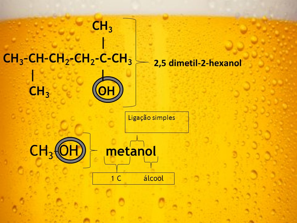 CH 3 | CH 3 –CH–CH 2 -CH 2 -C-CH 3 | | CH 3 OH 2,5 dimetil-2-hexanol CH 3 –OH metanol 1 C álcool Ligação simples