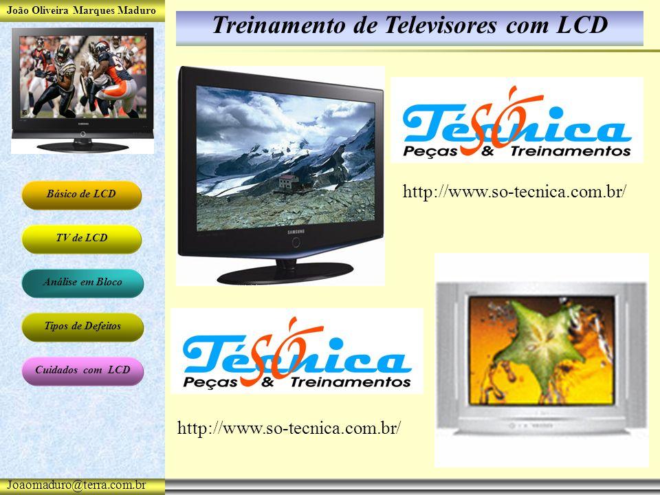 João Oliveira Marques Maduro Básico de LCD TV de LCD Análise em Bloco Tipos de Defeitos Cuidados com LCD Joaomaduro@terra.com.br Treinamento de Televisores com LCD http://www.so-tecnica.com.br/