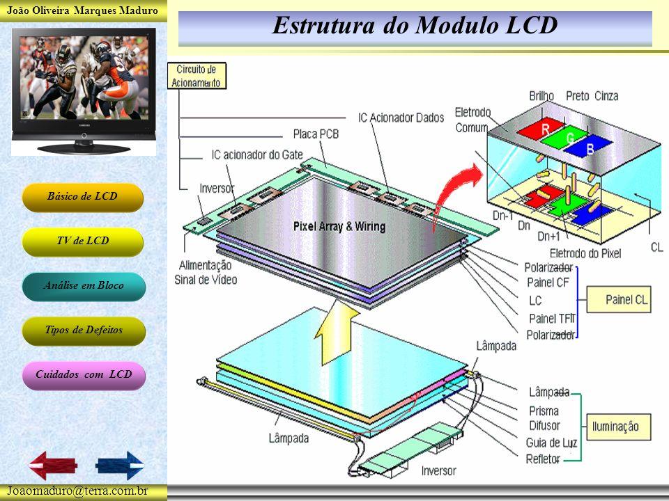 João Oliveira Marques Maduro Básico de LCD TV de LCD Análise em Bloco Tipos de Defeitos Cuidados com LCD Joaomaduro@terra.com.br Estrutura do Modulo LCD