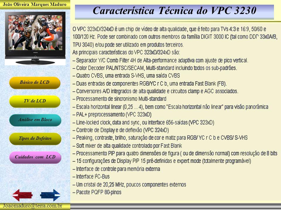 João Oliveira Marques Maduro Básico de LCD TV de LCD Análise em Bloco Tipos de Defeitos Cuidados com LCD Joaomaduro@terra.com.br Característica Técnica do VPC 3230
