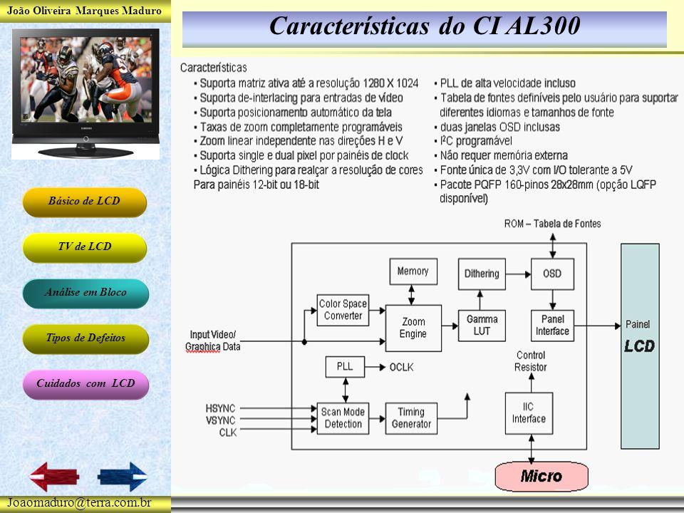 João Oliveira Marques Maduro Básico de LCD TV de LCD Análise em Bloco Tipos de Defeitos Cuidados com LCD Joaomaduro@terra.com.br Características do CI AL300