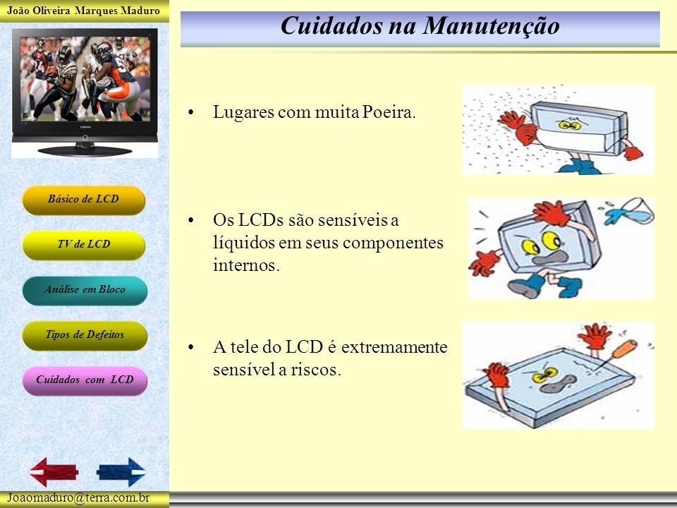 João Oliveira Marques Maduro Básico de LCD TV de LCD Análise em Bloco Tipos de Defeitos Cuidados com LCD Joaomaduro@terra.com.br Cuidados na Manutenção Lugares com muita Poeira.
