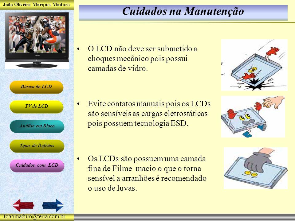 João Oliveira Marques Maduro Básico de LCD TV de LCD Análise em Bloco Tipos de Defeitos Cuidados com LCD Joaomaduro@terra.com.br Cuidados na Manutenção O LCD não deve ser submetido a choques mecânico pois possui camadas de vidro.