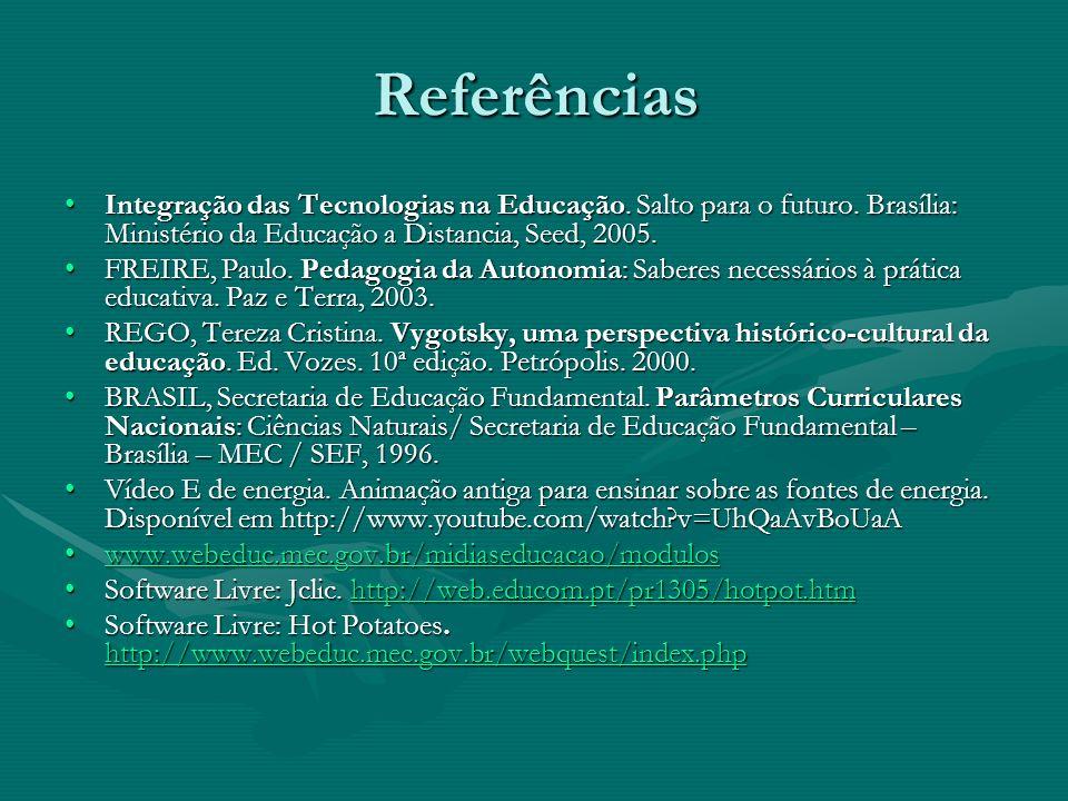 Referências Integração das Tecnologias na Educação. Salto para o futuro. Brasília: Ministério da Educação a Distancia, Seed, 2005.Integração das Tecno