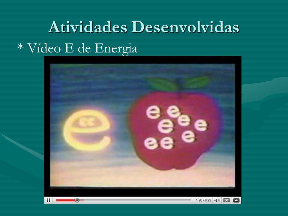Atividades Desenvolvidas * Vídeo E de Energia