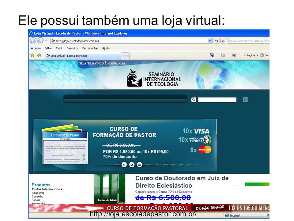 Ele possui também uma loja virtual: http://loja.escoladepastor.com.br/