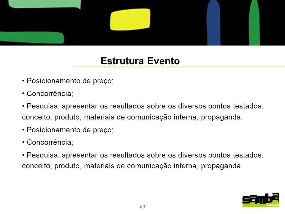 23 Estrutura Evento Posicionamento de preço; Concorrência; Pesquisa: apresentar os resultados sobre os diversos pontos testados: conceito, produto, materiais de comunicação interna, propaganda.