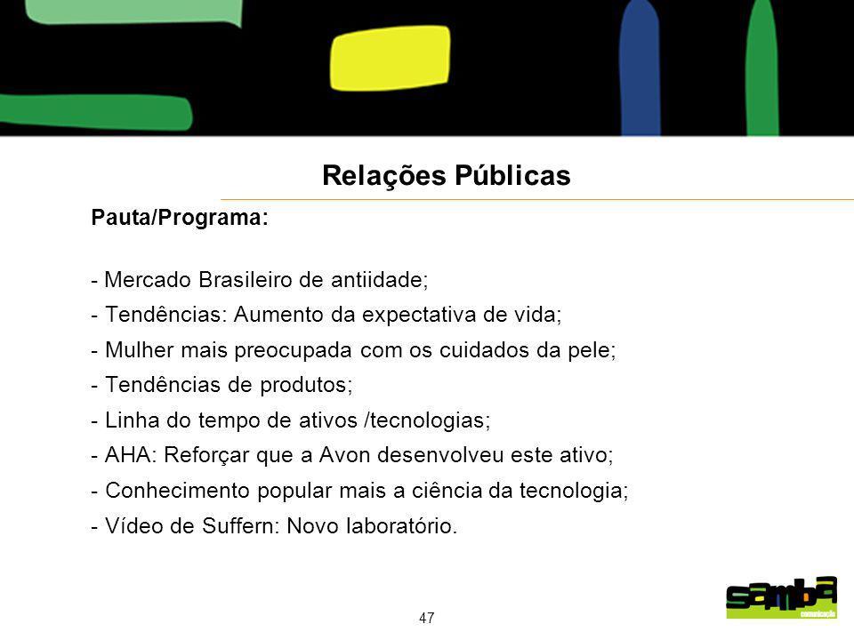 47 Pauta/Programa: - Mercado Brasileiro de antiidade; - Tendências: Aumento da expectativa de vida; - Mulher mais preocupada com os cuidados da pele; - Tendências de produtos; - Linha do tempo de ativos /tecnologias; - AHA: Reforçar que a Avon desenvolveu este ativo; - Conhecimento popular mais a ciência da tecnologia; - Vídeo de Suffern: Novo laboratório.