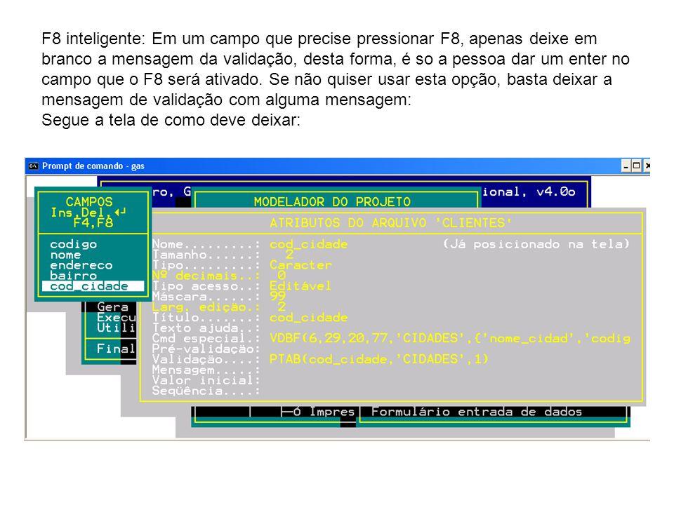 Menus de Rodapé: Nas telas de Manutenção, você tem um menu informativo ao seu cliente, das opções disponíveis