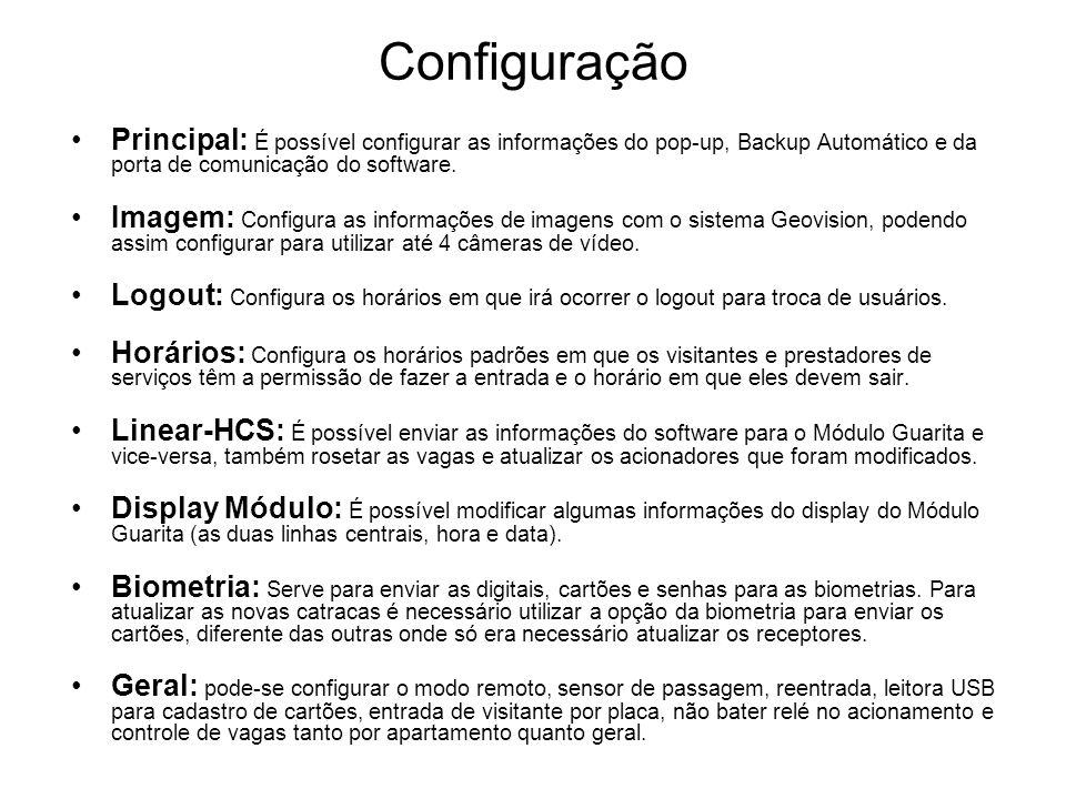 Configuração Principal: É possível configurar as informações do pop-up, Backup Automático e da porta de comunicação do software. Imagem: Configura as