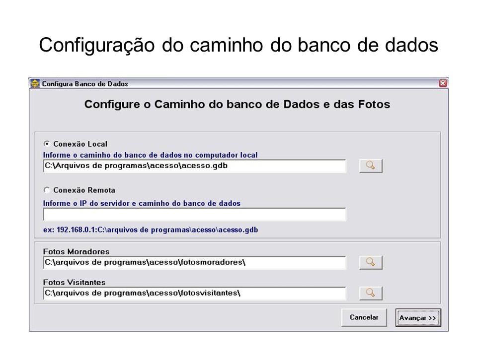 Configuração do caminho do banco de dados