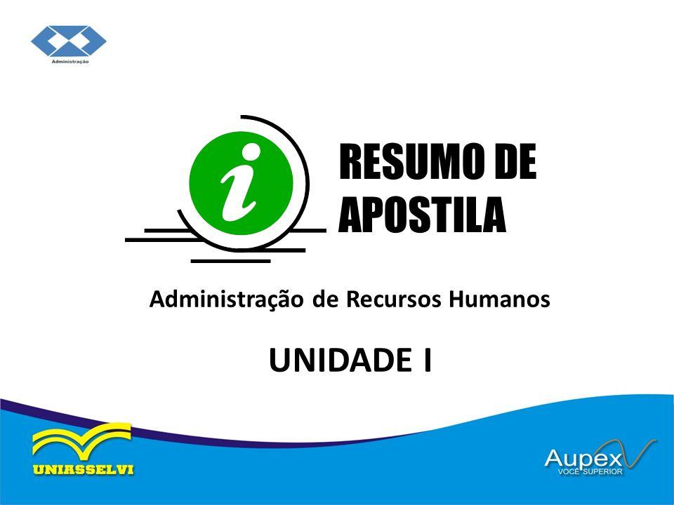 Administração de Recursos Humanos UNIDADE I RESUMO DE APOSTILA
