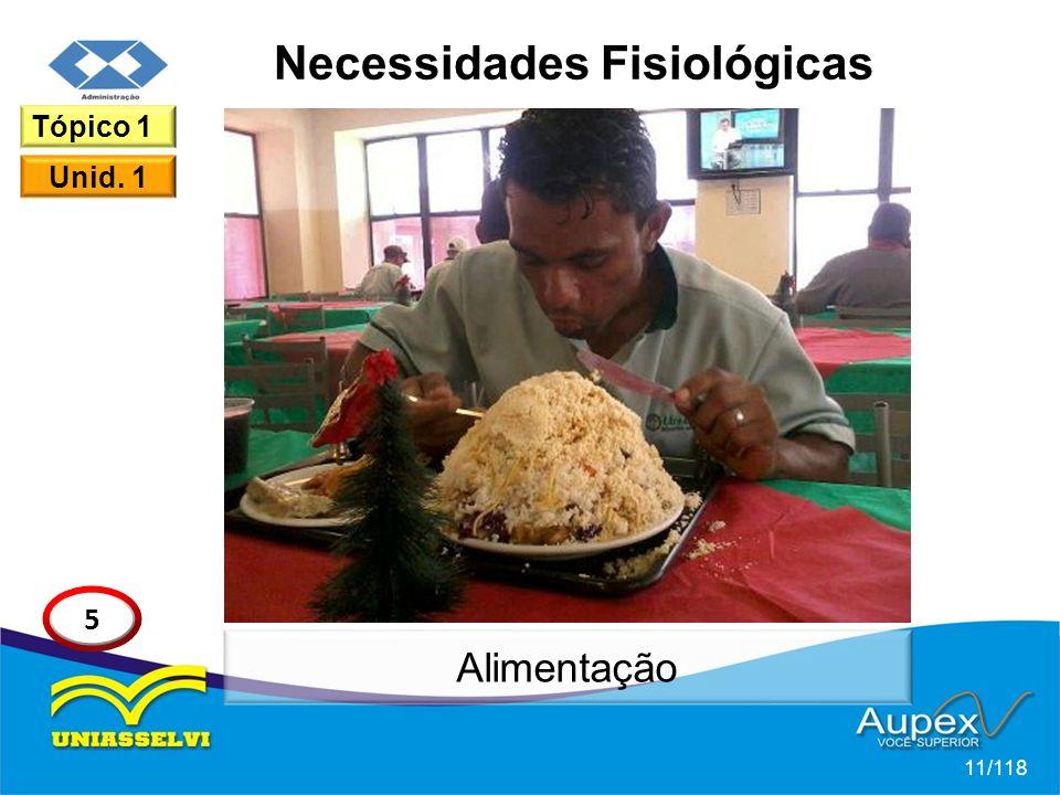 Necessidades Fisiológicas 11/118 Tópico 1 Unid. 1 5 Alimentação