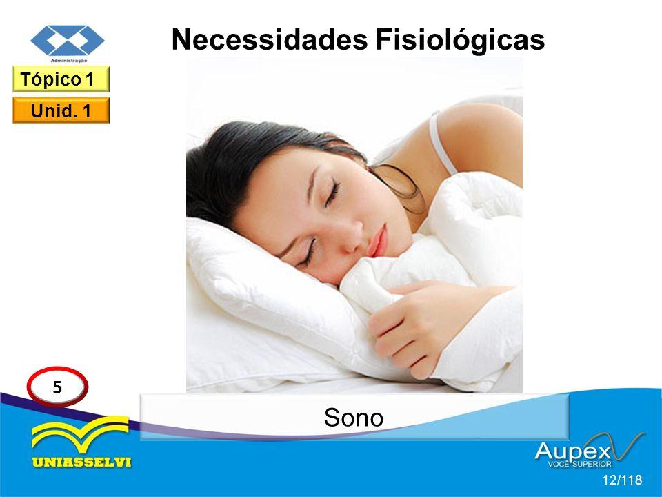 Necessidades Fisiológicas 12/118 Tópico 1 Unid. 1 5 Sono