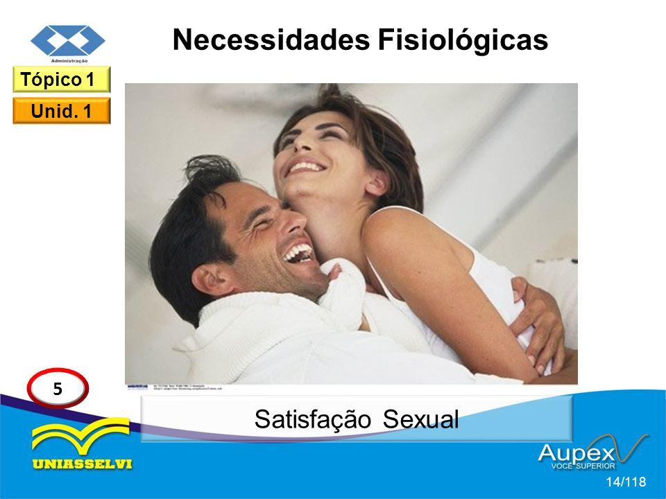Necessidades Fisiológicas 14/118 Tópico 1 Unid. 1 5 Satisfação Sexual