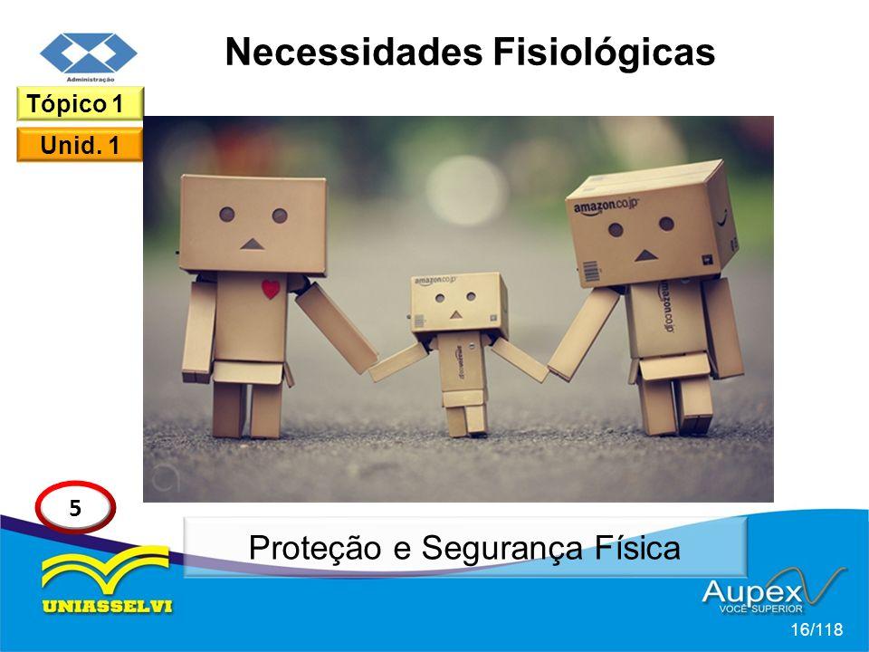 Necessidades Fisiológicas 16/118 Tópico 1 Unid. 1 5 Proteção e Segurança Física