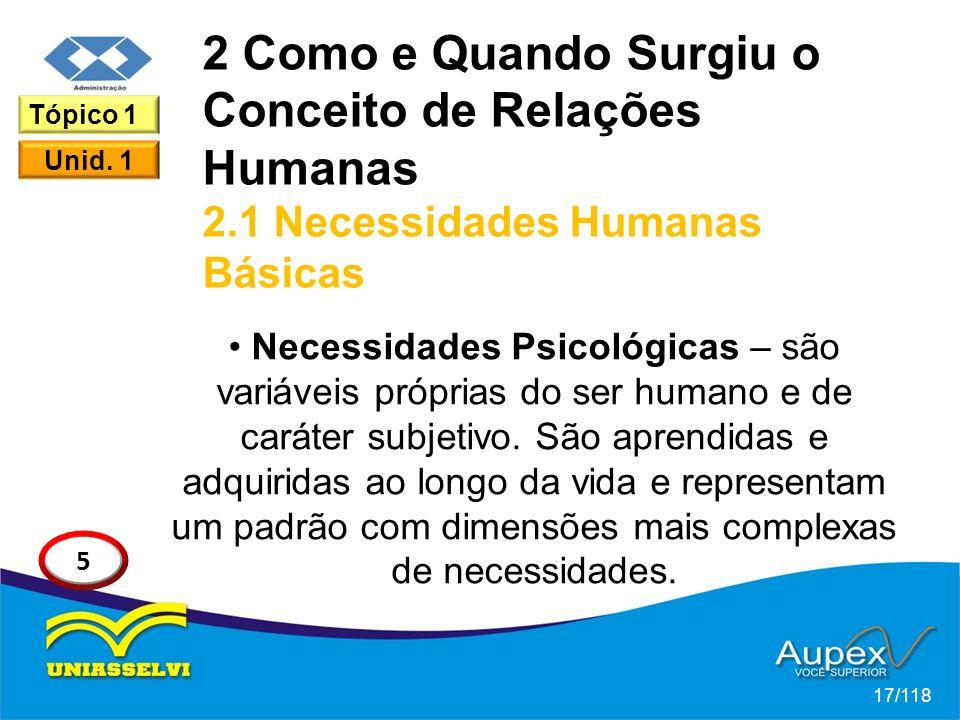 2 Como e Quando Surgiu o Conceito de Relações Humanas 2.1 Necessidades Humanas Básicas Necessidades Psicológicas – são variáveis próprias do ser humano e de caráter subjetivo.