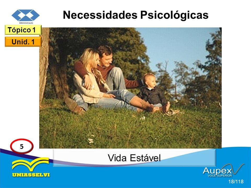 Necessidades Psicológicas 18/118 Tópico 1 Unid. 1 5 Vida Estável