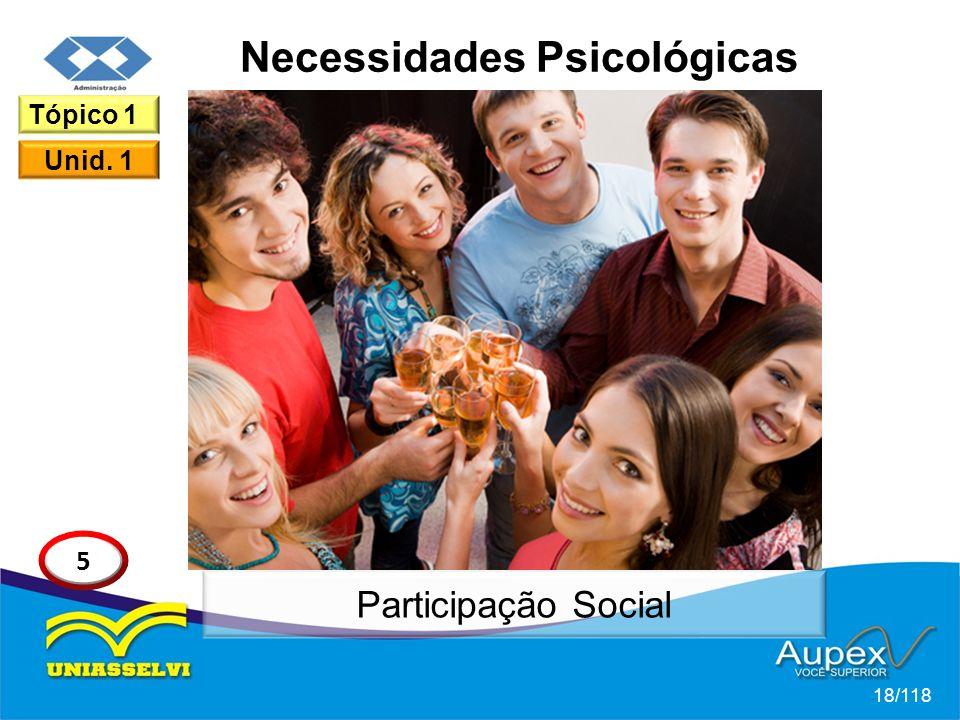 Necessidades Psicológicas 18/118 Tópico 1 Unid. 1 5 Participação Social