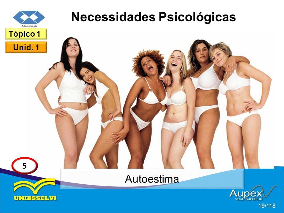 Necessidades Psicológicas 19/118 Tópico 1 Unid. 1 5 Autoestima