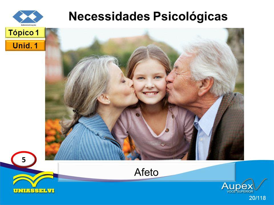 Necessidades Psicológicas 20/118 Tópico 1 Unid. 1 5 Afeto