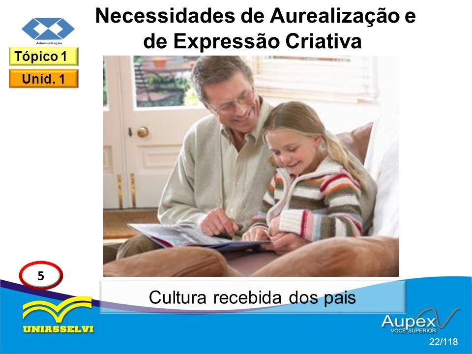 Necessidades de Aurealização e de Expressão Criativa 22/118 Tópico 1 Unid.