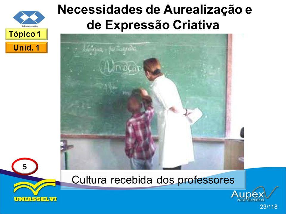 Necessidades de Aurealização e de Expressão Criativa 23/118 Tópico 1 Unid.