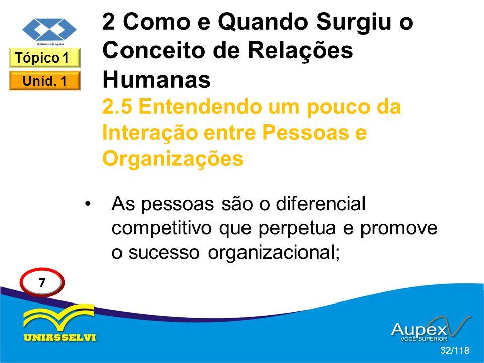 2 Como e Quando Surgiu o Conceito de Relações Humanas 2.5 Entendendo um pouco da Interação entre Pessoas e Organizações As pessoas são o diferencial competitivo que perpetua e promove o sucesso organizacional; 32/118 Tópico 1 Unid.