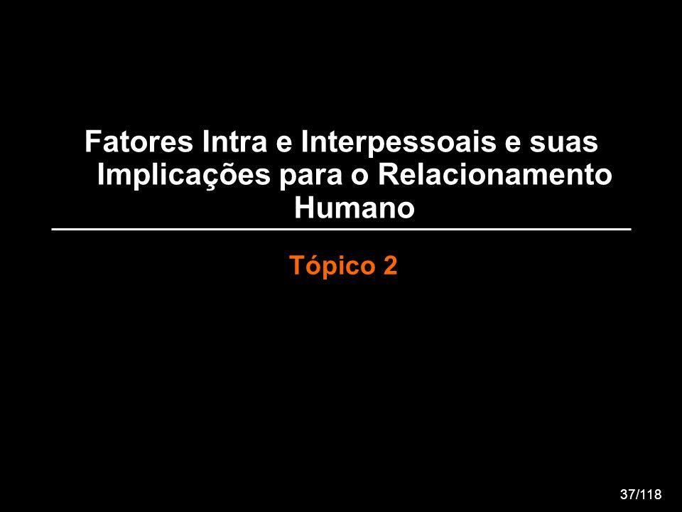 Fatores Intra e Interpessoais e suas Implicações para o Relacionamento Humano Tópico 2 37/118