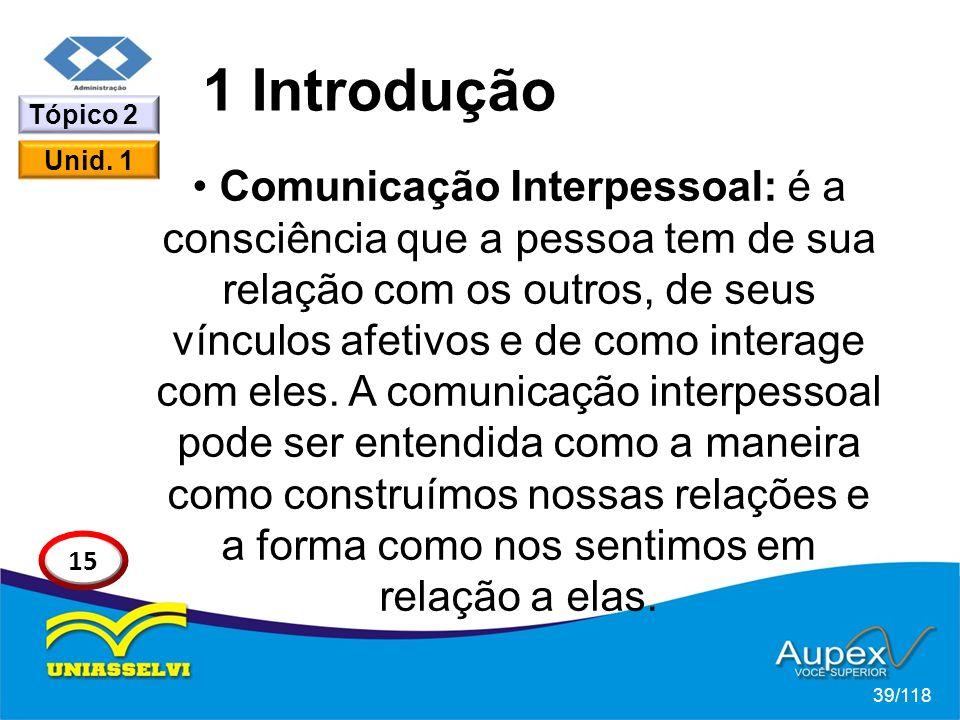1 Introdução Comunicação Interpessoal: é a consciência que a pessoa tem de sua relação com os outros, de seus vínculos afetivos e de como interage com eles.