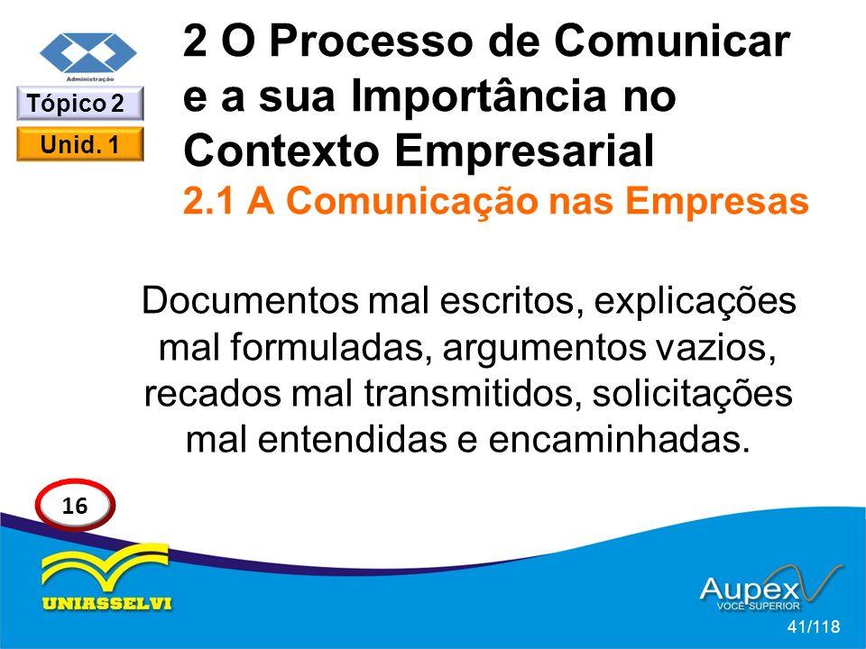 2 O Processo de Comunicar e a sua Importância no Contexto Empresarial 2.1 A Comunicação nas Empresas Documentos mal escritos, explicações mal formuladas, argumentos vazios, recados mal transmitidos, solicitações mal entendidas e encaminhadas.