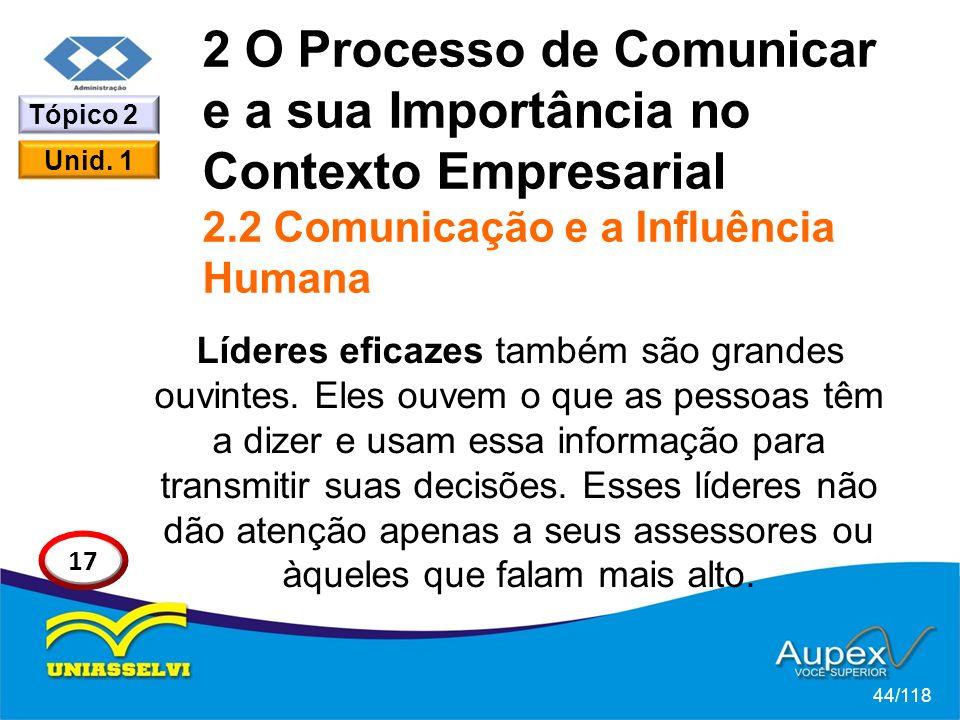 2 O Processo de Comunicar e a sua Importância no Contexto Empresarial 2.2 Comunicação e a Influência Humana Líderes eficazes também são grandes ouvintes.