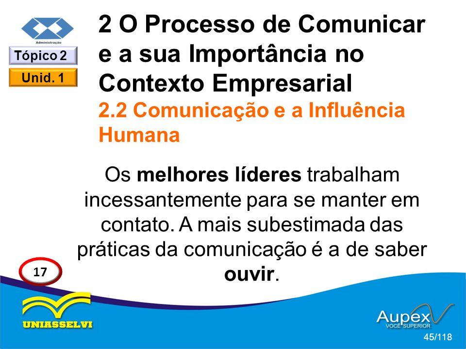 2 O Processo de Comunicar e a sua Importância no Contexto Empresarial 2.2 Comunicação e a Influência Humana Os melhores líderes trabalham incessantemente para se manter em contato.