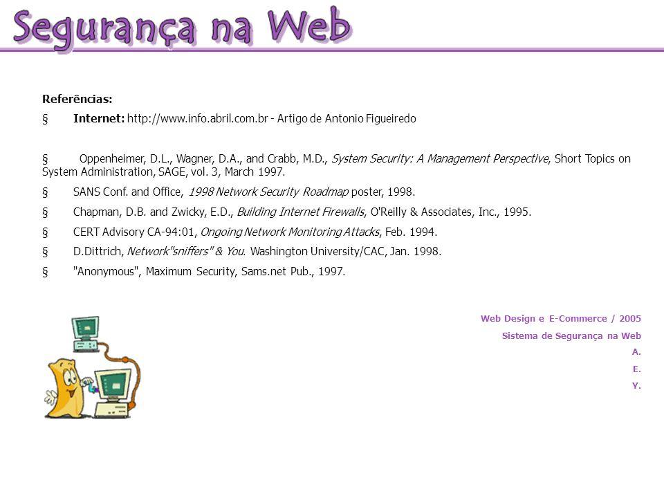 Referências: Internet: http://www.info.abril.com.br - Artigo de Antonio Figueiredo Oppenheimer, D.L., Wagner, D.A., and Crabb, M.D., System Security:
