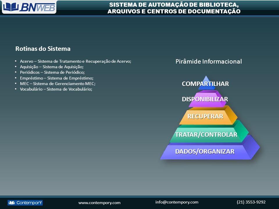 www.contempory.com info@contempory.com(21) 3553-9292 SISTEMA DE AUTOMAÇÃO DE BIBLIOTECA, ARQUIVOS E CENTROS DE DOCUMENTAÇÃO Conheça os Módulos do Sistema