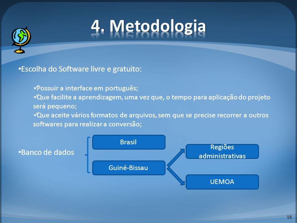 18 Escolha do Software livre e gratuito: Possuir a interface em português; Que facilite a aprendizagem, uma vez que, o tempo para aplicação do projeto